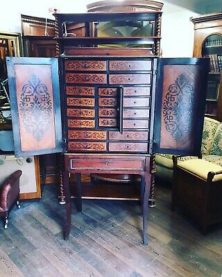 Antique Cabinet On Stand. Marquetry Inlaid With Brass Decoration. STUNNING.