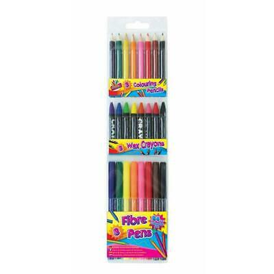 Artbox 24 Piece Colouring Set - Pens Felt Tip Pencils Crayons Kids School Crafts