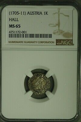 Austria 1705-11 Kreuzer  Hall Mint  NGC-MS65! Top Pop 1/0