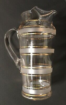 MCM Atomic Glass Martini Juice Cocktail Pitcher Gold Frosted Stripe Retro Vtg