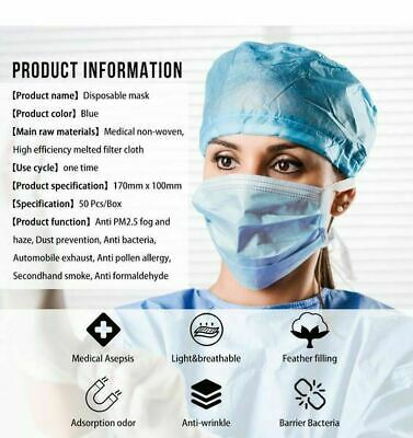 50 Pcs Disposable Medical,Surgical,Dental 3-Layers Face Mask Mouth Cover Shield