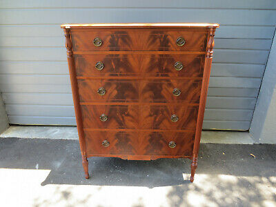 Antique Vintage Flaming Mahogany Dresser Highboy chest By John Wanamaker