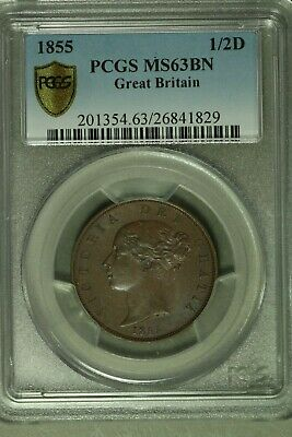 Great Britain 1855 1/2 Penny PCGS MS63BN