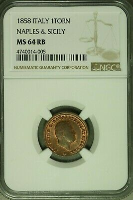 Italian States Naples and Sicily 1858 Tornesi NGC MS64RB