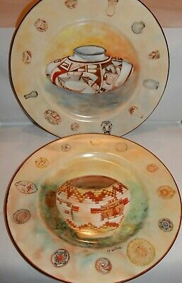 Art Paintings on Porcelain Plates of Tribal Native Baskets & Pottery Signed