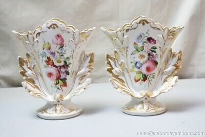 Pair Antique Old Paris Vases Gold Pointed Leaves Colorful Floral Bouquets White