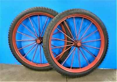 "36"" STEEL SPOKED WHEELS With 100-36 Inflatable Rubber Tires And Externally Greas"