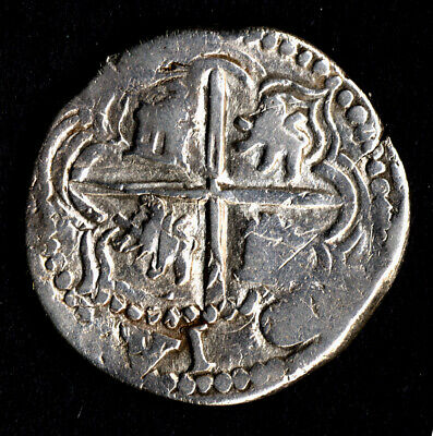 Lovely pirate cob & spanish colonial * Silver 2 Reales * Philip II Potosi P B