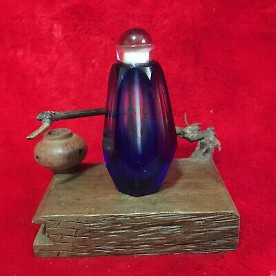 Rare Antique Collection Asian Chinese 6 Sides Blue Peking Glass Snuff Bottle