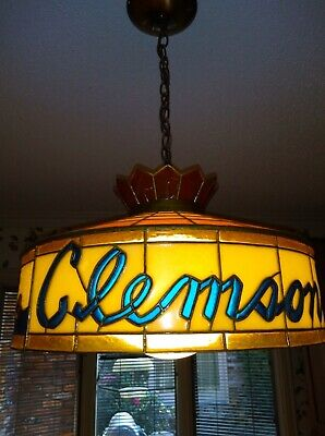 Vintage Clemson Tigers Stained Glass Tiffany Style Hanging Lamp Bar Pool Table