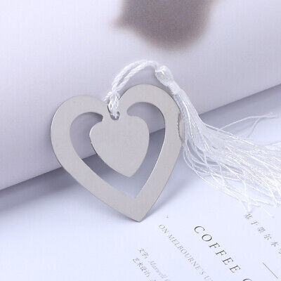Heart Shaped Hollow Metal Bookmark With Tassel For Box Book Reading Gadget Decor