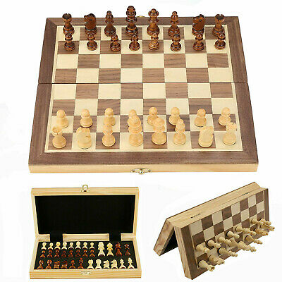 Folding Large Wooden Chess Set Magnetic 32 Piece Chessboard Hand Crafted Game