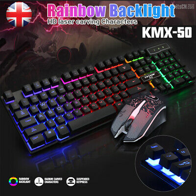 Gaming Keyboard and Mouse Set Rainbow LED USB Wired for PC PS4 Xbox One and 360