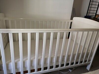 John Lewis & Partners Cot with mothercare firm mattress, White