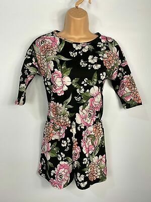 Girls Childs Boohoo Kids Black Floral 3/4 Sleeve Party Occasion Playsuit 9/10Yrs