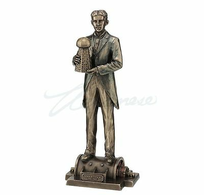 Nikola Tesla Holding Model Of Wardenclyffe Tower Statue Sculpture