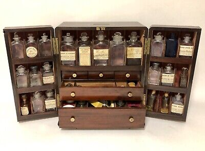 Superb Antique Georgian Mahogany Apothecary Cabinet Box with Bottles Scales etc