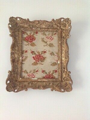 Stunning French swept gilt, gesso frame with antique tapestry gorgeous