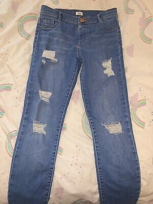 Girls River Island Skinny Jeans Ripped Age 9