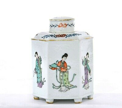 1930's Chinois Famille Rose Porcelaine Thé Caddy Dame Figurine Figurine Mk