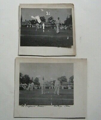 2 Antique Photographs c.1905 All England Tennis Mr Wilding & Brothers ? Damaged