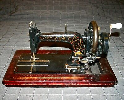 1880 Antique Frister & Rossmann Crank Sewing Machine Working Wood Inlay Base