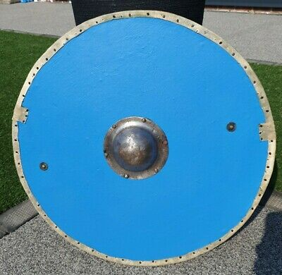 Reenactment Shield made from marine ply with had forged boss