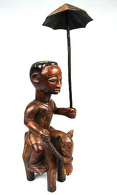 Art African tribal - Rare Rider Colon Adjoukrou With Umbrella - 47,5 CMS