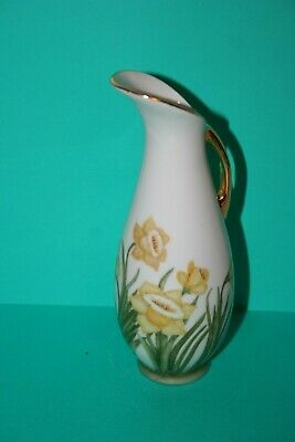 Vtg hand Painted Porcelain Decorative Pitcher Yellow Daffodil Flowers Gold Gilt
