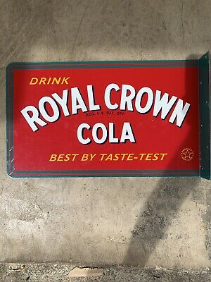 Royal Crown Cola FLANGED DOUBLE SIDED PORCELAIN SODA SIGN 17.5x10.5