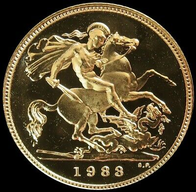 1983 Gold Great Britain 3.99 Grams 1/2 Sovereign Coin Gem Proof In Capsule