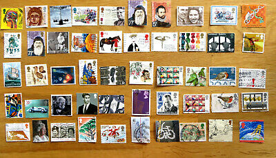 50  high Value GB commemorative stamps. No repeats. Off paper. Good Condition.