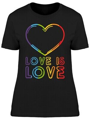Colorful Love Is Love Heart Graphic Women's T-shirt