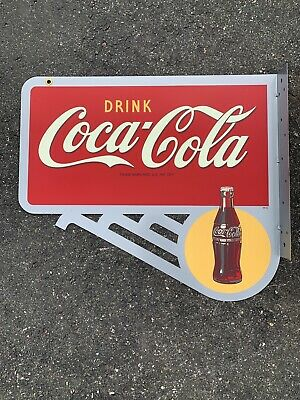 Vintage COCA COLA Flange Sign with Sun and Bottle