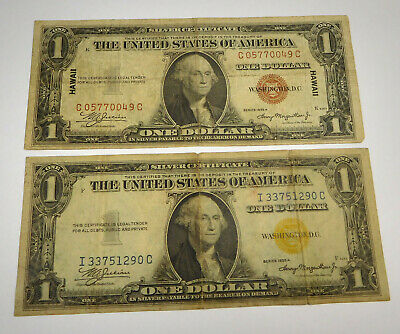 1935A $1 Hawaii & North Africa Silver Certificates- Lot Of 2