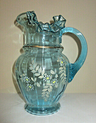 Vtg Antique Glass Pitcher Blue Hand Painted Flowers Ruffle Edge Reeded Handle