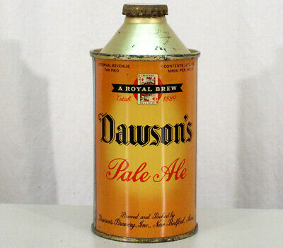 Dawson Pale Ale Super Clean Pre-Wwii Bulb Cone Top Beer Can+Cap New Bedford Mass