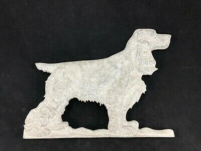 Vintage Aluminum Fence Topper Cocker Spaniel Dogs Gate Finial Pressed Cast