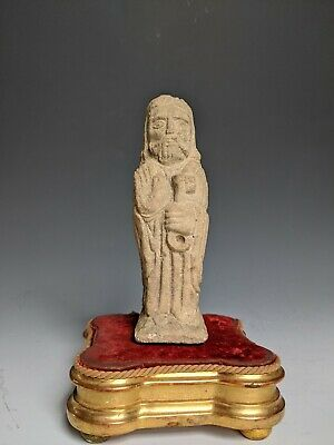 Antique Stone Carving French Romanesque Religious Idol Saint Limestone Ancient