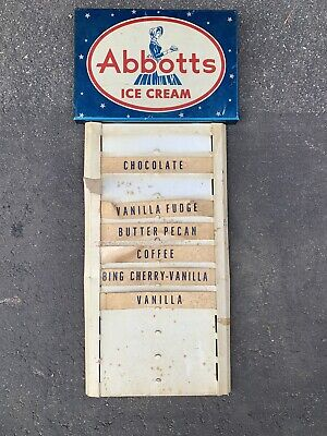 Vintage Country Store Display Sign Advertising Abbott's Ice Cream