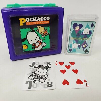 Sanrio Pochacco Vinyl Box Handle Snaps Purple Vinyl Window W/ Playing Cards 1995