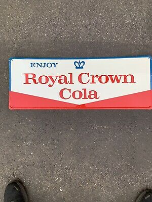 Vintage 60s Collectible Royal Crown Cola RC Soda Embossed Sign B 31.75x11.75
