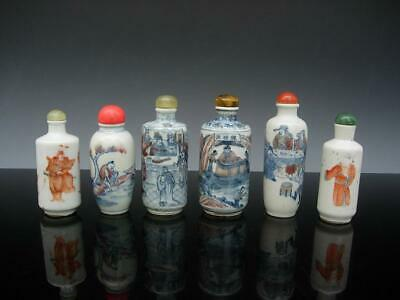 Group Of Six Antique Chinese Blue And White Porcelain Snuff Bottles & Stoppers