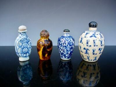 Lot Of Four Antique Chinese Blue And White & Pottery Snuff Bottles & Stoppers