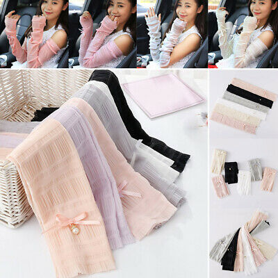Lace Bow Pearl Long Sleeves Ice Sleeves Summer Sunscreen Driving Arm Sleeves HH