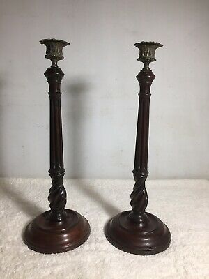 A FINE PAIR OF GEORGE III MAHOGANY AND BRASS CANDLE STICKS C1780s