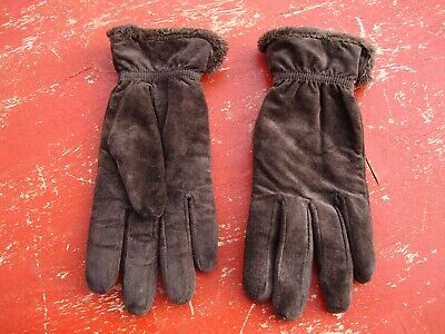 vtg Aris 115 Women's LARGE Brown Suede Leather Gloves  fresh clean warm