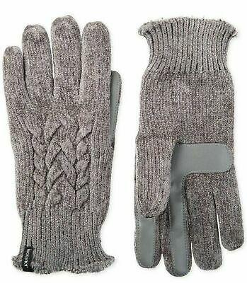 Isotoner Women's Touchscreen Chenille Cable Knit Gloves Gray One Size