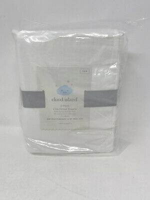 Fitted Crib Sheets Solid 2pk - Cloud Island™ White, Two Sheets, Fully Elastic