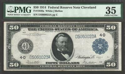 1914 $50 Federal Reserve Note CLEVELAND ~ PMG Choice Very Fine 35 FR# 1039a